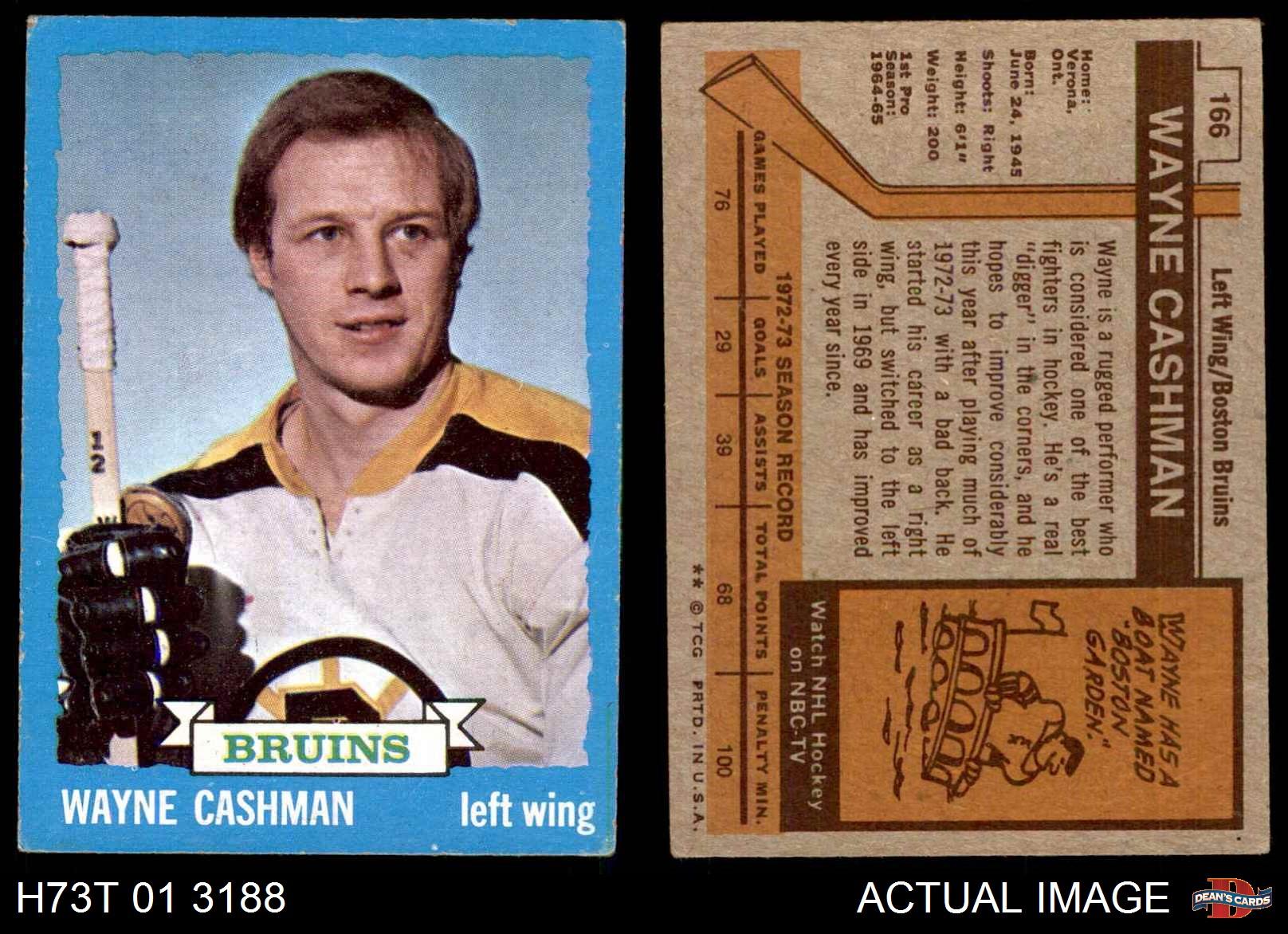 1973-Topps-166-Wayne-Cashman-Bruins-VG-EX