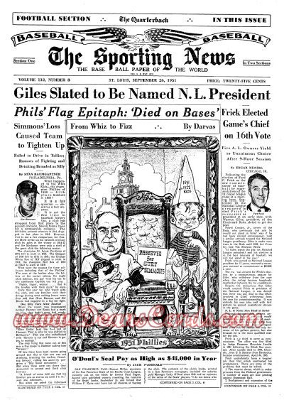 1951 The Sporting News   September 26  - Bill Klem dies / Bob Nieman