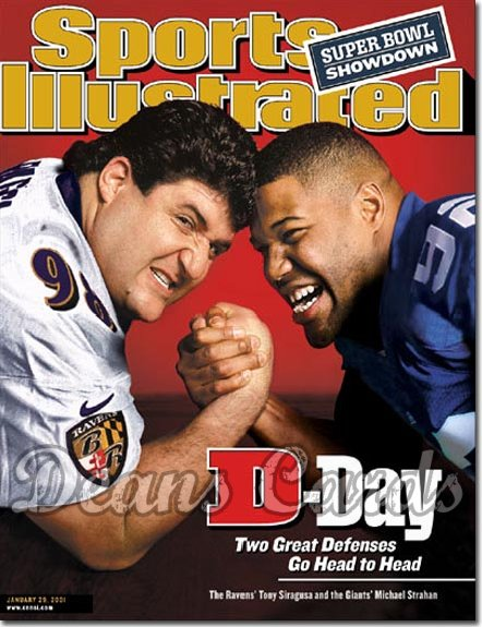 2001 Sports Illustrated - With Label   January 29  -  Tony Siragusa (Baltimore Ravens) Michael Strahan (NY Giants)