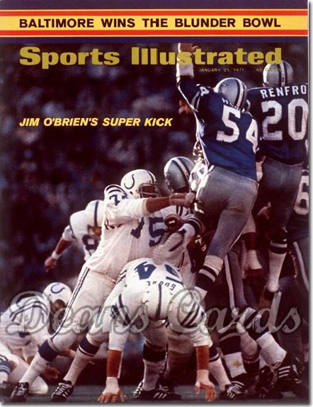 1971 Sports Illustrated - With Label   January 25  -  Jim O'Brien (Colts/Cowboys) Super Bowl