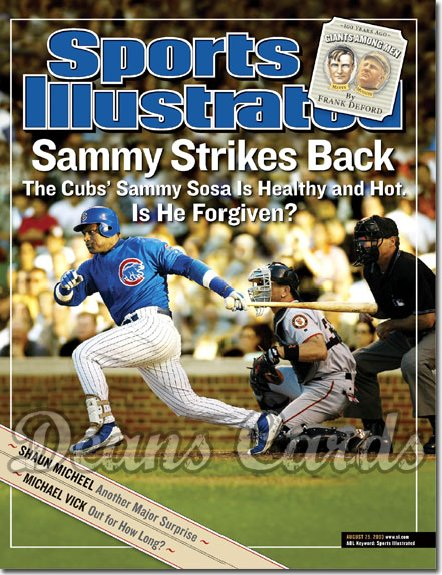 2003 Sports Illustrated - With Label   August 25  -  Sammy Sosa (Chicago Cubs)