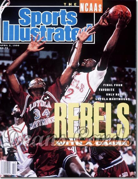 1990 Sports Illustrated - With Label   April 2  -  Stacey Augmon (UNLV) Chris Knight (Loyola)