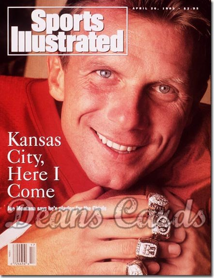 1993 Sports Illustrated - With Label   April 26  -  Joe Montana (Kansas City Chiefs)