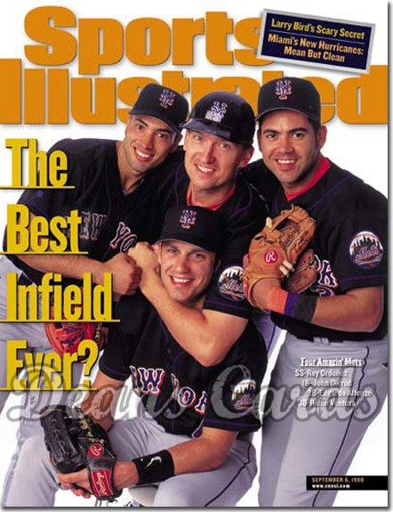 1999 Sports Illustrated - With Label   September 6  -  Olerud Ordonez Ventura & Alfonzo (NY Mets)