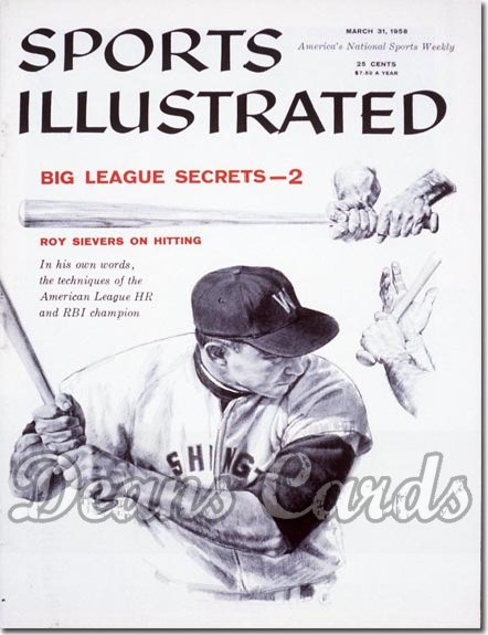 1958 Sports Illustrated - With Label   March 31  -  Roy Sievers (Washington Senators)