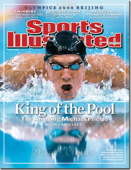 2008 Sports Illustrated - With Label   August 18  -  Michael Phelps King of the Pool