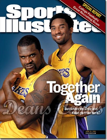 2001 Sports Illustrated - With Label   June 25  -  Shaquille O'Neal & Kobe Bryant LA Lakers