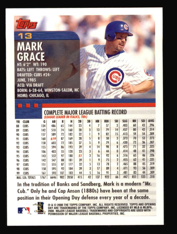 2000 Topps Opening Day #13  Mark Grace