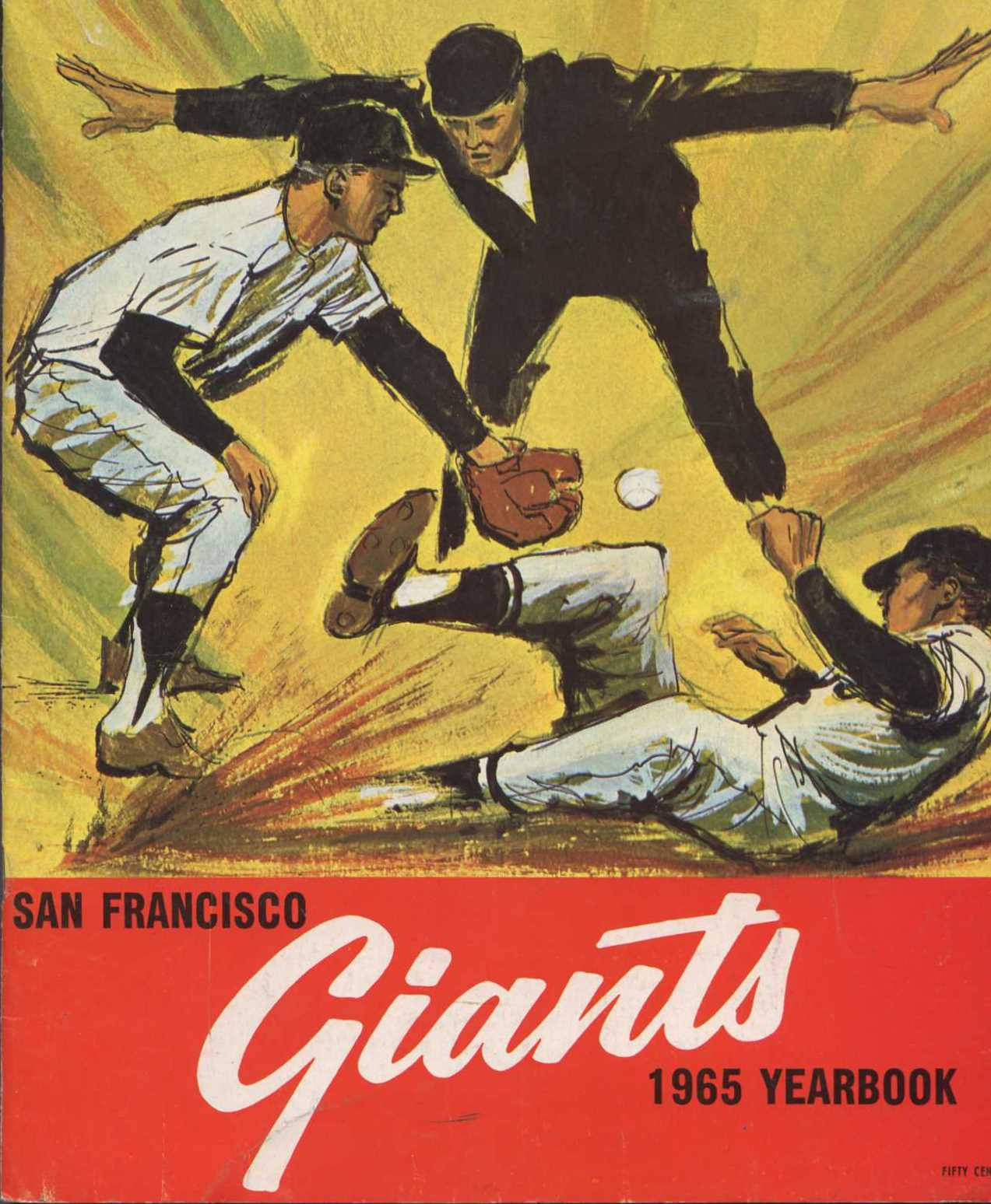 1965 San Francisco Giants Yearbook - Painting of a play at second