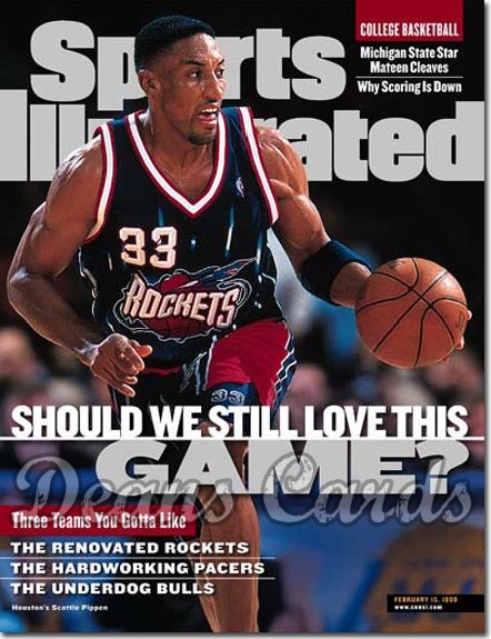 1999 Sports Illustrated - With Label   February 15  -  Scottie Pippen Houston Rockets