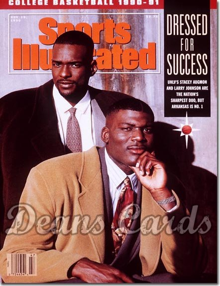 1990 Sports Illustrated - With Label   November 19  -  Larry Johnson & Stacey Augmon (UNLV Runnin' Rebels)