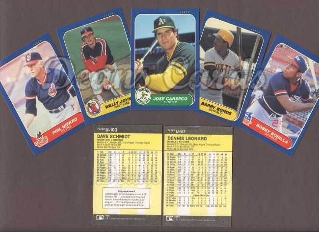 1986 Fleer     Baseball Update Complete Set