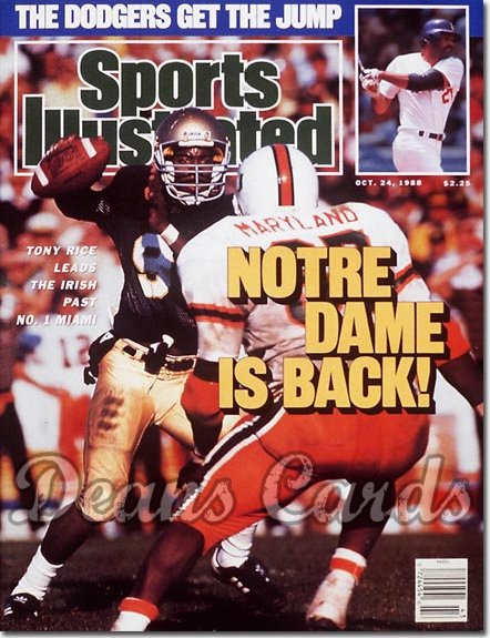 1988 Sports Illustrated - With Label   October 24  -  Tony Rice Notre Dame Irish RMaryland Hurricanes