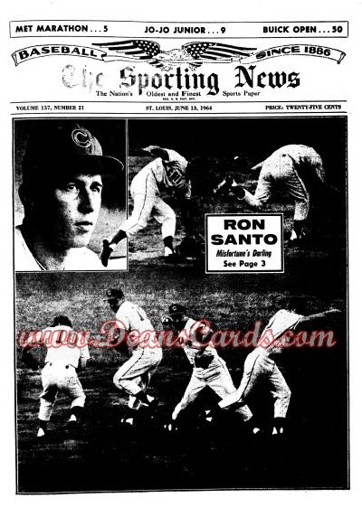 1964 The Sporting News   June 13  - Ron Santo / 23 Inning game