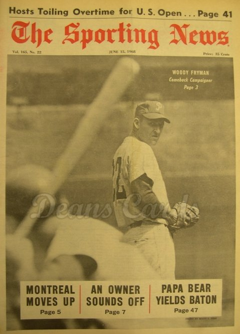 1968 The Sporting News   June 15  - Woodie Fryman / Montreal franchise