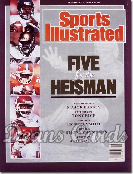 1989 Sports Illustrated - No Label   November 27  -  Emmitt Smith Andre Ware & Tony Rice Heisman Issue