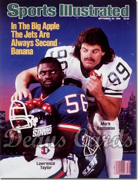 1986 Sports Illustrated - With Label   September 29  -  Mark Gastineau (New York Jets) Lawrence Taylor (Giants)