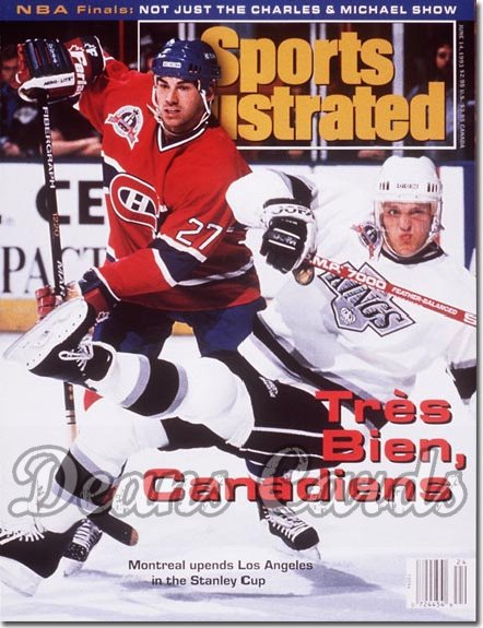 1993 Sports Illustrated - With Label   June 14  -  Tomas Sandstrom (LA Kings) Matthieu Schneider (Mon