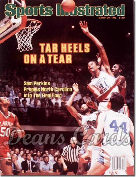 1982 Sports Illustrated - With Label   March 29  -  Sam Perkins/James Worthy (UNC Tar Heels)