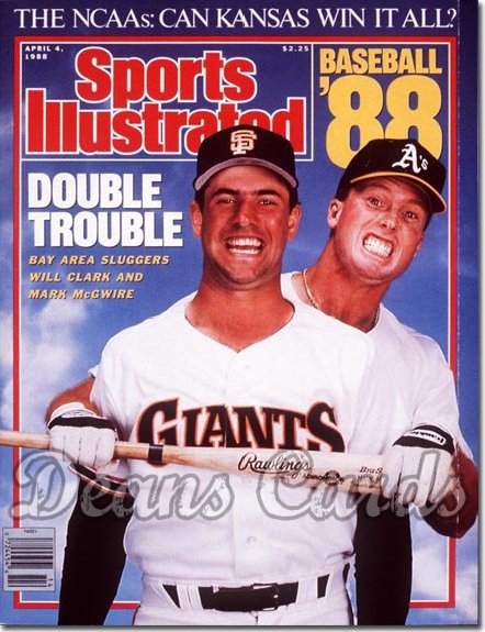 1988 Sports Illustrated - With Label   April 4  -  Will Clark (San Francisco Giants) Mark Mc Gwire