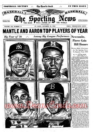 1956 The Sporting News   October 10  - Mickey Mantle
