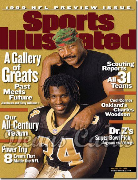 1999 Sports Illustrated - With Label   August 30  -  Ricky Williams (New Orleans Saints) Jim Brown Pro Football