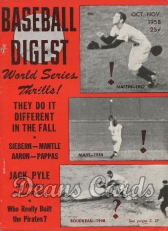 1958 Baseball Digest    October  - World Series Thrills
