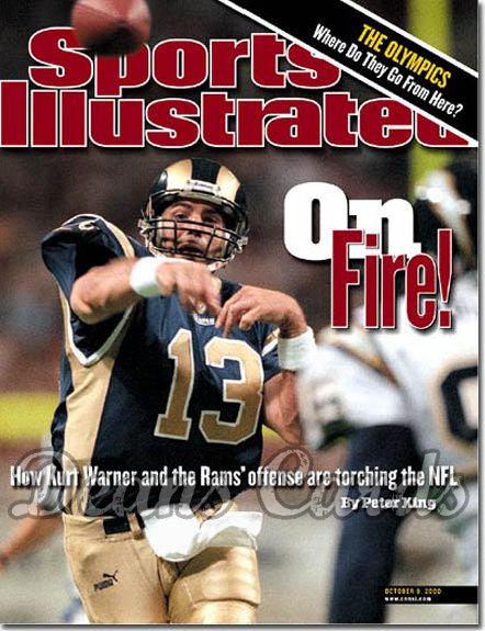 2000 Sports Illustrated - With Label   October 9  -  Kurt Warner St. Louis Rams