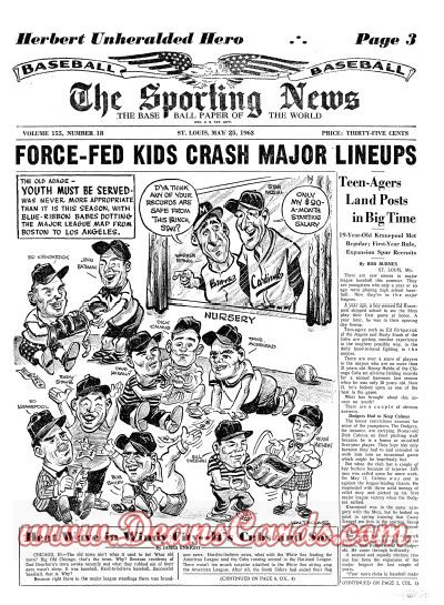 1963 The Sporting News   May 25  - Koufax's no-hitter / Lou Brock