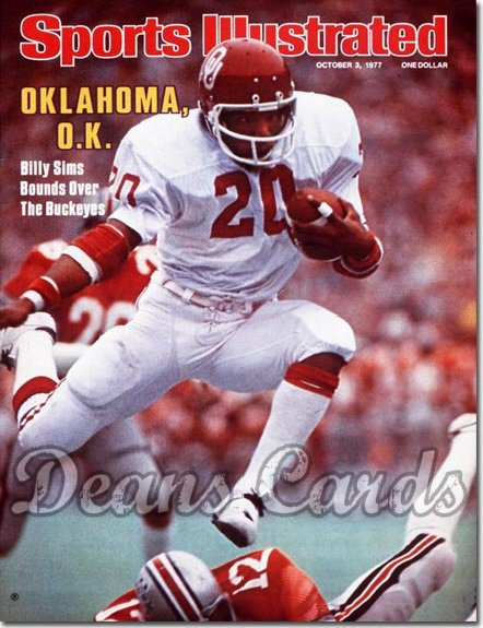 1977 Sports Illustrated - With Label   October 3  -  Billy Sims OU Sooners