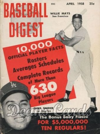 1958 Baseball Digest   -  Snider & Mays  April