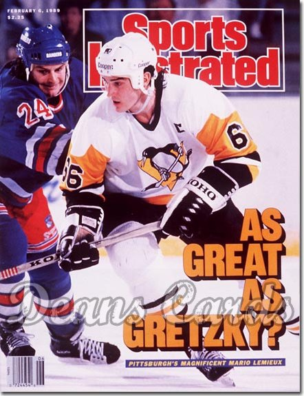 1989 Sports Illustrated - With Label   February 6  -  Mario Lemieux (Pittsburgh Penguins)