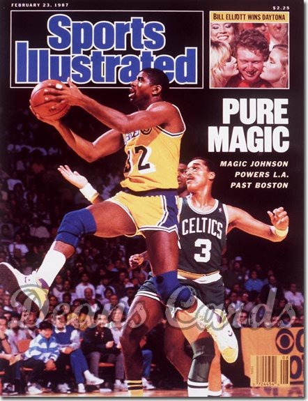 1987 Sports Illustrated - With Label   February 23  -  Magic Johnson (LALakers)Dennis Johnson (Boston Celtics)