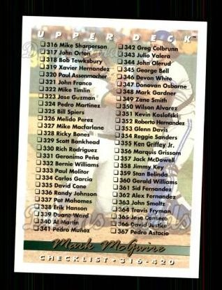 1993 Upper Deck #420   -  Mark McGwire Checklist 316-420
