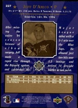 1997 Upper Deck #227  Jeff D'Amico