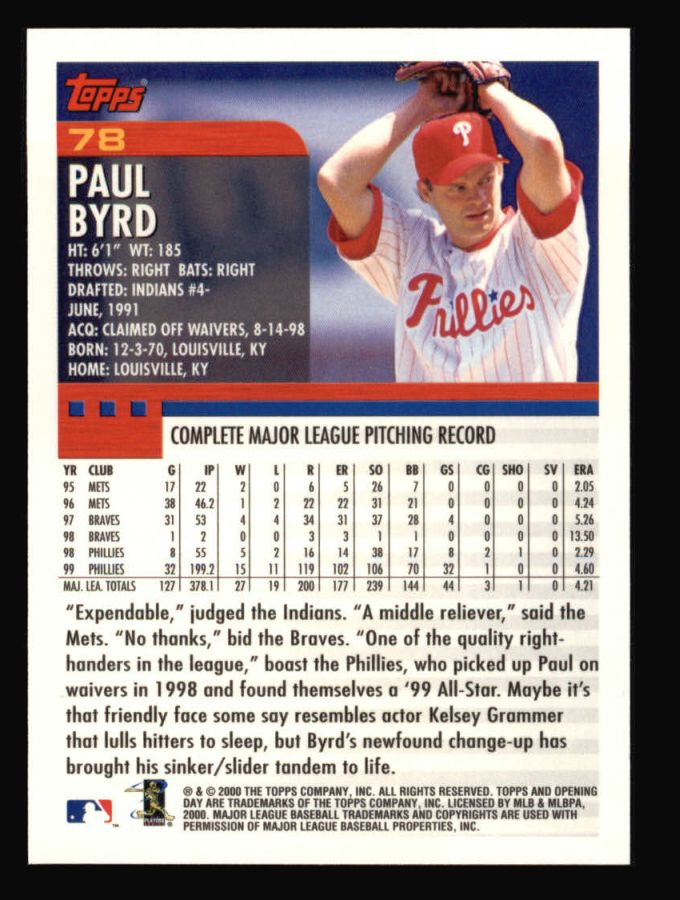 2000 Topps Opening Day #78  Paul Byrd