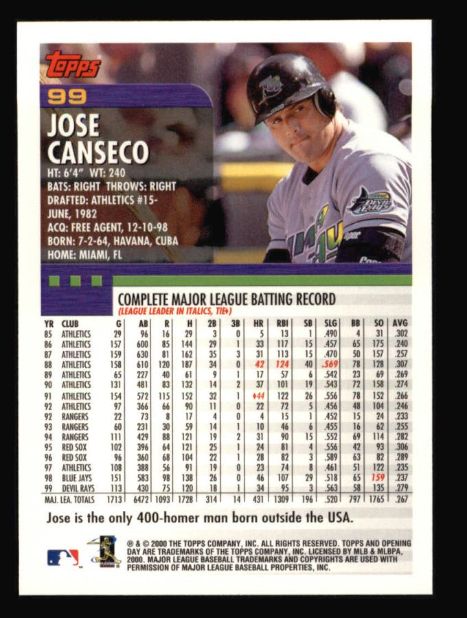 2000 Topps Opening Day #99  Jose Canseco