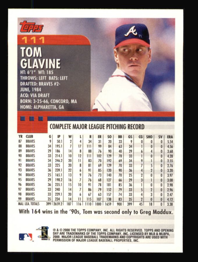 2000 Topps Opening Day #111  Tom Glavine
