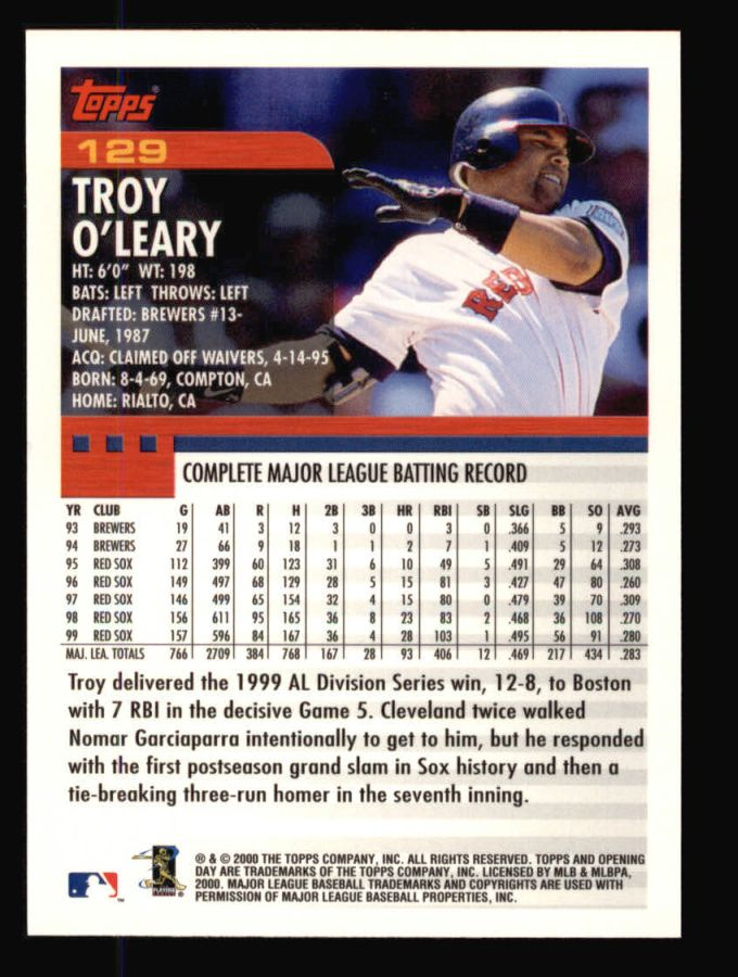 2000 Topps Opening Day #129  Troy O'Leary