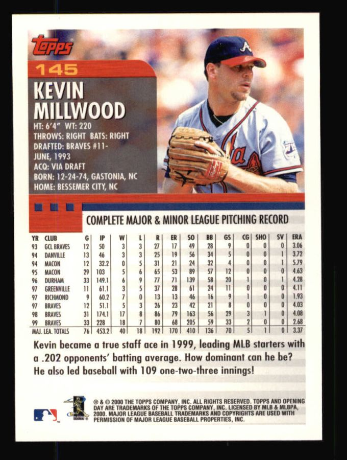 2000 Topps Opening Day #145  Kevin Millwood