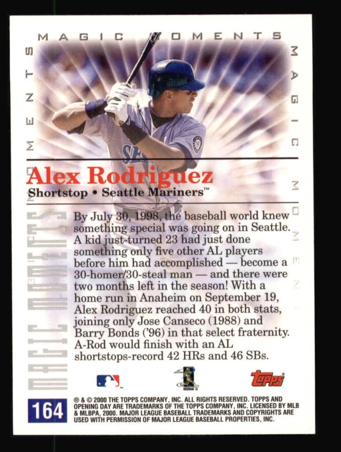 2000 Topps Opening Day #164   -  Alex Rodriguez Magic Moments