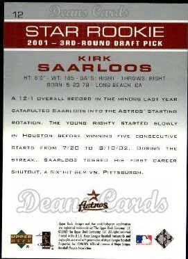 2003 Upper Deck #12   -  Kirk Saarloos Star Rookie