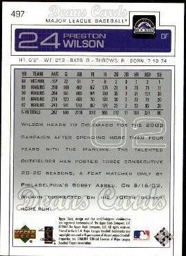 2003 Upper Deck #497  Preston Wilson