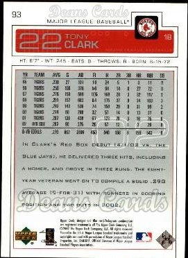 2003 Upper Deck #93  Tony Clark