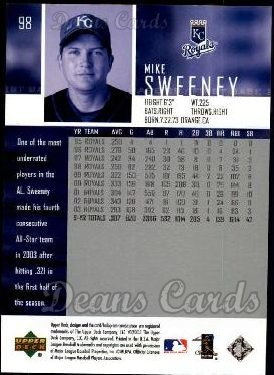 2004 Upper Deck #98  Mike Sweeney