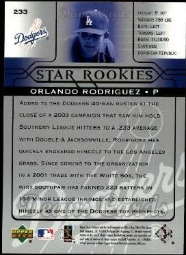 2005 Upper Deck #233   -  Orlando Rodriguez Star Rookie