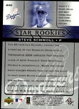 2005 Upper Deck #440   -  Steve Schmoll Star Rookie