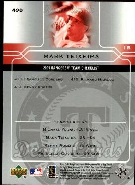 2005 Upper Deck #498   -  Mark Teixeira Texas Rangers Team