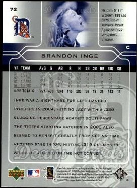 2005 Upper Deck #72  Brandon Inge