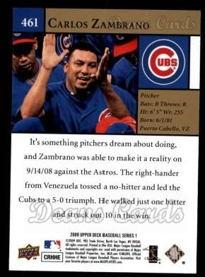 2009 Upper Deck #461   -  Carlos Zambrano  Highlights